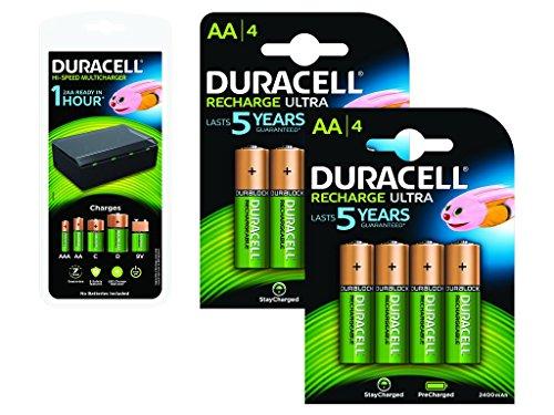 Duracell Lot de 8 piles AA 2400 mAh rechargeables + chargeur multi-format