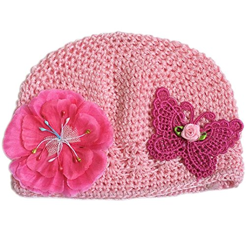 Baby Hat with Bow, Misaky Outdoor Cotton Butterfly Hollow Cap Bucket Hat Gift (Pink)