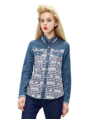 Elf Sack Womens Autumn Denim Blouse Two Pockets Patchwork In The Front Medium Size Blue