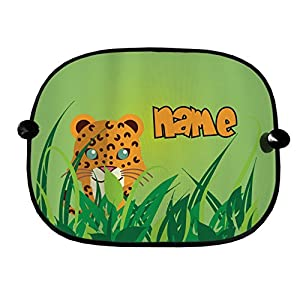 PERSONALISED JUNGLE LEOPARD DESIGN CAR WINDOW SUN SHADES GREAT FOR CAR BUS CHILDREN
