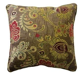 Burgundy Floral Throw Pillows : Amazon.com - 24x24 Burgundy and Pink Floral Brocade Decorative Throw Pillow Cover (Maga ...