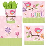 Tweet Baby Girl Pink Baby Shower Party Pack - 8 cups, 8 square plates, 16 napkins, 1 tablecover