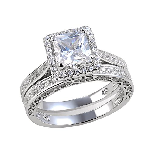 Newshe Jewellery 2.8 Carat Princess White Cz 925 Solid Sterling Silver Wedding Band Engagement Ring Set Size 9