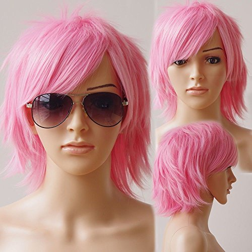 Unisex Women Short Curly Straight Cosplay Wig Anime Hair Tail Full Wigs Heat Resistant Synthetic Wig Wigs Japanese Kanekalon Fiber 20 Colors Full Wig for Women Lady Fashion and Beauty (dark (Adult Short Pink Wig)