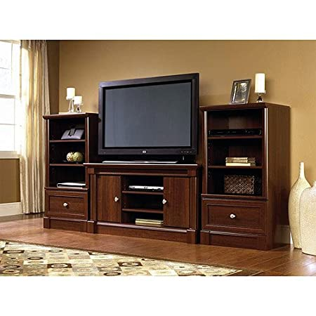 """Dual Tower Televison TV 47"""" Entertainment Center and Media Stand Storage Towers in Cherry Wood."""