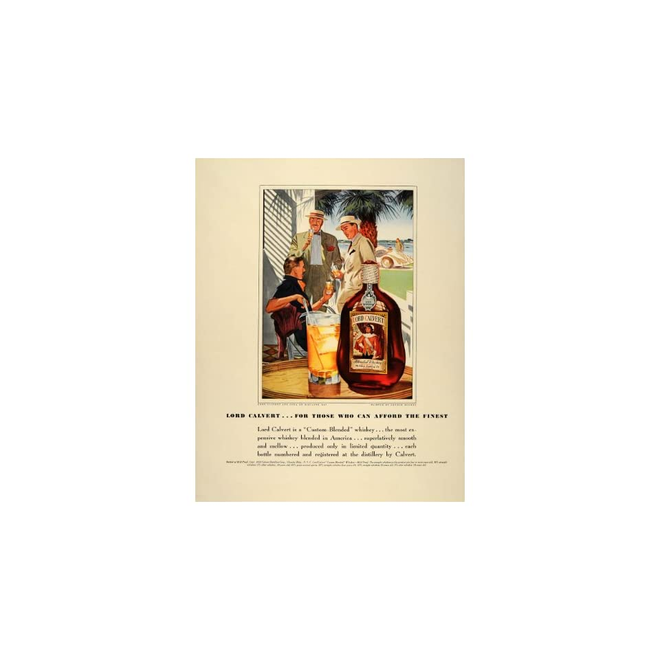 1939 Ad Lord Calvert Whiskey Biscayne Bay George Hughes   Original Print Ad