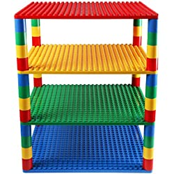"Premium Green, Blue, Yellow, and Red Tower Organizer Set includes 48 Round Stackers and 4 Baseplates (Big LEGO DUPLO Compatible) Large Pegs Only - 16.25"" x 13.75"""