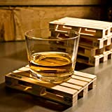 Janazala 4 Miniature Pallet Wood Beverage Drink Coasters. Wine Coasters For Wine Glasses and Bottles, Whiskey, Beer Cocktail Glasses Coasters. Suitable For Bar, Home and Office