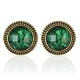 Sarah Metal Stud Earring For Women (Green)