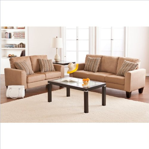 Southern enterprises carlton 2 piece sofa set in mocha for 8 piece living room furniture