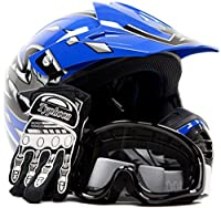 Youth Offroad Gear Combo Helmet Gloves Goggles DOT Motocross ATV Dirt Bike MX Motorcycle Blue Black, Small by Typhoon Helmets