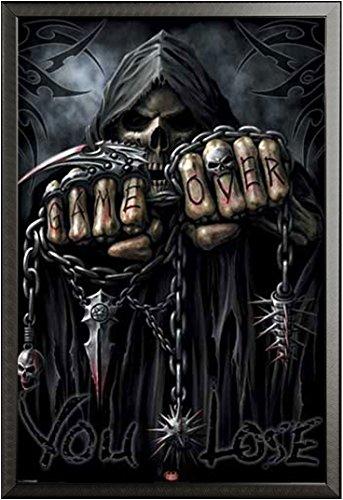 Game Over Reaper – Poster – Spiral + Wechselrahmen der Marke Shinsuke® Maxi aus edlem Aluminium (ALU) Profil: 30mm schwarz