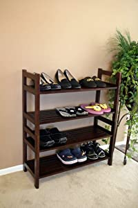 Click Here For fair Size Veranda Shoe Rack Organizer- 4 Tiers - in Mahogany Wood