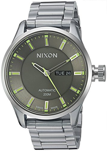 Nixon-Mens-II-Swiss-Stainless-Steel-Automatic-Watch-ColorSilver-Toned-Model-A2092254-00