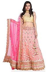 Vikalp Women's Net Lehenga Choli (Fml015_Peach_Free Size)