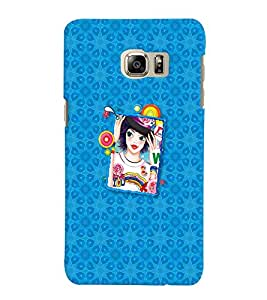 Fuson Blue Pattern Girl Back Case Cover for SAMSUNG GALAXY NOTE 5 EDGE - D4118
