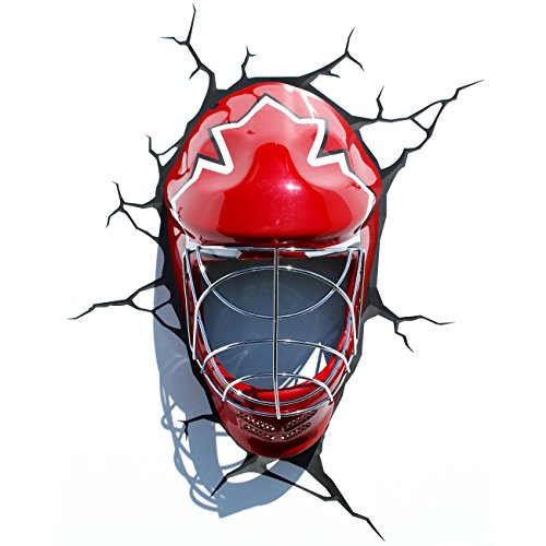 3D Deco Light ~~ Ice Hockey Mask / Canada ~~ Looks Like The Hockey Mask Has Broken Through The Wall! ~~ Games Room / Kids Room