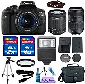 Canon EOS Rebel T6i 24.2 MP EF-S Digital SLR Camera with Canon EF-S 18-55mm f/3.5-5.6 STM Zoom Lens + Tamron 70-300mm Lens + 2pc - 16GB Class 10 Memory Cards + Canon Bag + UV Filter + Cleaning Kit