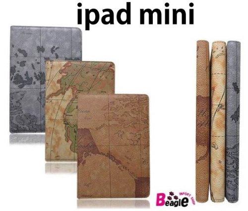 iPad mini 手帳型 レザー調ケース/地図柄/カバー/1831B