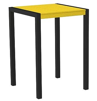 "POLYWOOD 8002-12LE MOD 30"" Bar Table, Textured Black/Lemon"