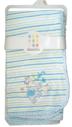 Absorba Baby Blankets Set of 2 Blue Zoo Animal Print - 1