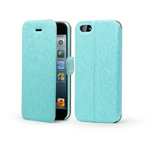 Meaci® Iphone 5 5S (Not 5C) Folio Case With Kickstand Pu Leather And Microfiber Material Cover With Magnetic Buckle (Light Blue)