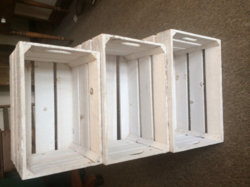 Set of 3 Large Rustic Style Shabby Chic Crates Wooden Storage Boxes / Planters