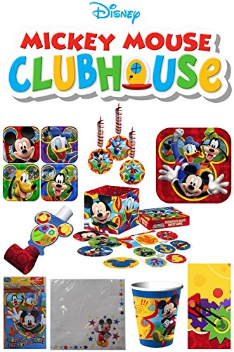 Mickey Mouse Party Pack - Lunch and Dessert Plates - Lunch Napkins - Cups - Plastic Tablecover - Scavenger Hunt Game - 6 Hanging Decorations - 8 Blow Outs and 8 Invitations (First Birthday Cake Pan compare prices)