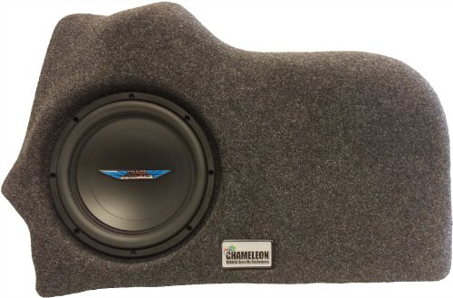 "Chameleon 10"" Unloaded Sub Box Ford Fusion 2013-Up Custom Subwoofer Enclosure (Charcoal Carpet)"