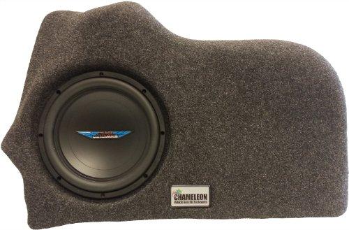 "Chameleon 10"" Unloaded Sub Box Ford Fusion 2013-Up Custom Subwoofer Enclosure (Black Carpet)"