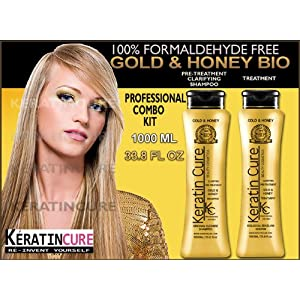 Keratin Brazilian Treatment and Clarifying Pre-Treatment Shampoo KC Keratin Cure Gold and Honey Bio Biological Professional Combo Kit Brazilian Keratin Treatment 1000ml 33.81 Oz & Keratin Cure Gold & Honey Bio Biological Original Cleanse Pre-treatment Clarifying Shampoo 1000ml 33.81 Oz - Truly Formaldehyde Free!