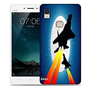 Snoogg moon and jet fighters Designer Protective Back Case Cover For Vivo V3 Max