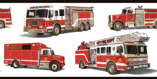 Red Fire Trucks White Wallpaper Border