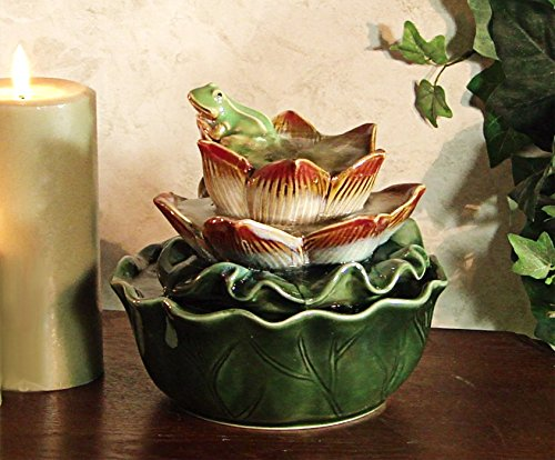 Alpine CTT178 Ceramic Frog on Flower Tabletop Fountain (Frog Tabletop Fountain compare prices)