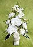 彗華 純白の胡蝶蘭と薄緑色の小花のニュアンスアレンジ プリザーブドフラワー