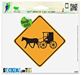 "Warning Carriage Crossing Amish Vinyl Car Bumper Window Sticker 4"" x 4"""