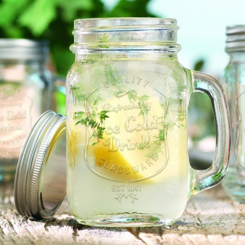 Del Sol 12 Oz. Hand Mason Jar With Lid (Set Of 4)
