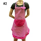 4 Colors Fashion Lovely Canvas Apron Pocket For Women Lady Home Kitchen Cooking-#2(Rose Red Dot)