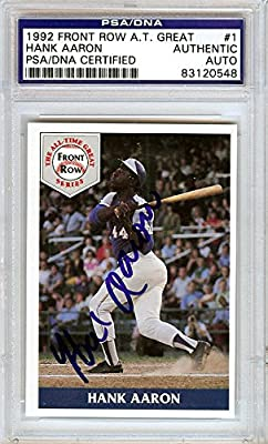 Hank Aaron Autographed 1992 Front Row Card #1 Atlanta Braves Psa/dna Stock #4492