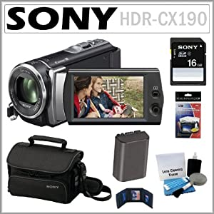 Sony HDR-CX190 HD Handycam Camcorder with 5.3MP and 25x Optical Zoom + 8GB SDHC + Sony Case + Replacement Battery Pack + Accessory Kit