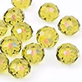 Yellow Crystal Rondelle Beads, AB Light Yellow, AB Effect, 10mm x 8mm Center Drilled Hole, 20pcs