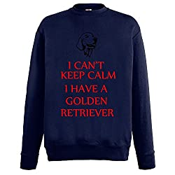 Keep Calm Dogs Collection 1, Fruit of the Loom Lightweight Set-In Deep Navy Cotton Casual Mens Sweatshirt with Colourful Design. Sizes S M L XL 2XL.