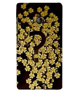 PrintVisa Modern Art Flower Question 3D Hard Polycarbonate Designer Back Case Cover for Nokia Lumia 540