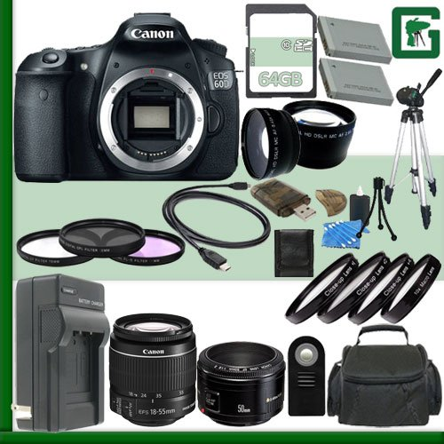 Canon Eos 60D Digital Slr Camera And Canon 18-55Mm Lens And Canon 50Mm F/1.8 Lens + 64Gb Green'S Camera Package 2