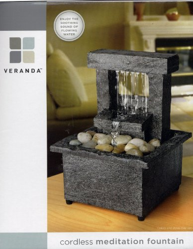 Veranda Cordless Tabletop Meditation Fountain (Square Waterfall)