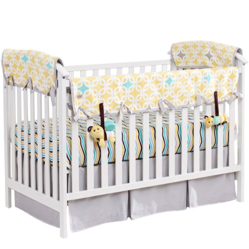 "Babee Talk Organic 5 Piece Crib Bedding Set 12"" Yellow - 1"