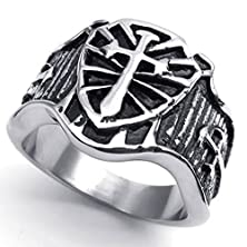buy Bishilin Stainless Steel Fashion Men'S Rings Cross Srd Shield Celtic Medieval Silver Retro Size 12