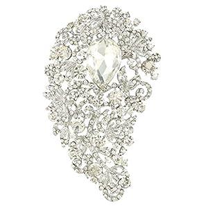 Bridal Silver-Tone 4.5 Inch Flower Teardrop Brooch Clear Austrian Crystal A13676-1