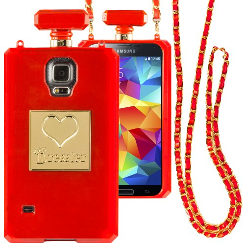 Dressier S5 Perfume Bottle Case With Chain For Samsung Galaxy S5 - Clear Red