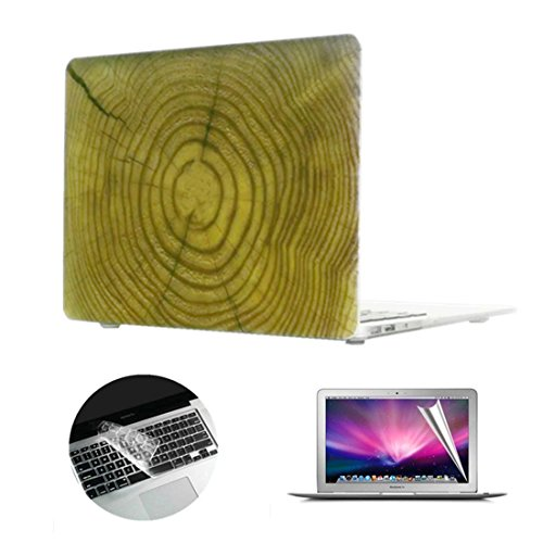 Se7enline Wood Grain Matte Plastic Hard Shell Case Cover for 13 inch Macbook Pro Retina A1502/A1425 with Clear Silicone Keyboard Skin and LCD Screen Protector,Tree Rings Wooden Texture Pattern Print